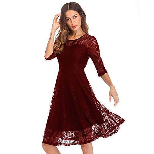 Women's Party Dresses Half Sleeve Formal Elegant Lace Long Bridesmaid A-line Dress with Elastic Lining