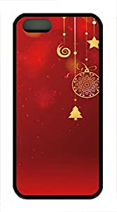 iPhone 5 5S Case Christmas decorations and red TPU Custom iPhone 5 5S Case Cover Black