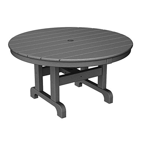 Coffee Polywood Round Table - Round Conversation Coffee Table Finish: Slate Grey, Size: 36