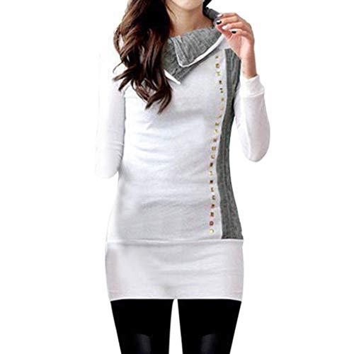 Faionny Womens Pullover Coat Blouse Sweater Long Sleeve White Knitting Rivet Long Sheath Slim Tops T-Shirt -