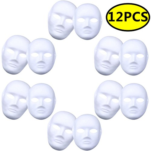 Coxeer DIY White Mask, 12 PCS Paper Full Face Opera Masquerade Mask Plain Mask Halloween Mask