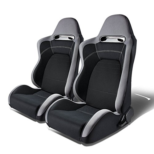 Pair of Full Reclinable T100 Type-R (Gray & Black) Racing Seat+Adjustable (Racing Seat Sport Type)