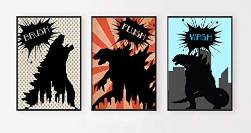 Godzilla Type Monster Themed Party Supply Package Set (Bathroom Art)]()