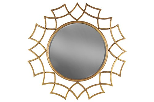 Urban Trends Metal Round Wall Mirror with Sunburst Design Frame Tarnished Finish, Antique Rose - Round Gold Mirrors