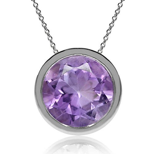 1.75ct. Natural Amethyst 925 Sterling Silver Floating Solitaire Pendant w/ Chain Necklace (18)