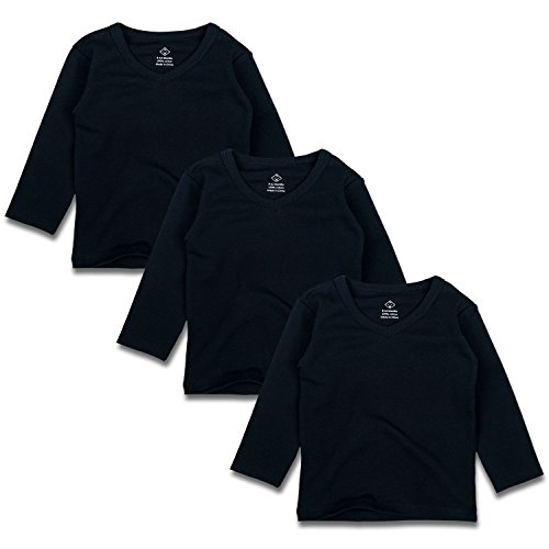 ng Sleeve V Neck T-Shirts for Unisex Boy Girl 3 Pack (18-24 Months, Black) ()