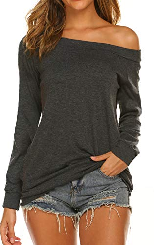 Off Shoulder Tops for Women Long Sleeve Baggy Loose Fit (M, Dark Gray) ()