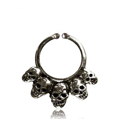 Septum piercing Fake Nose Rings skulls silver Brass nickel free antique exotic