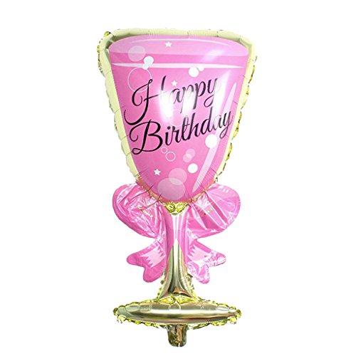 MonkeyJack Jumbo Pink Champagne Glass Foil Balloon Birthday Party Decoration