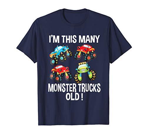 Birthday Shirt For Boys 4 I'm This Many Monster Trucks Old ()