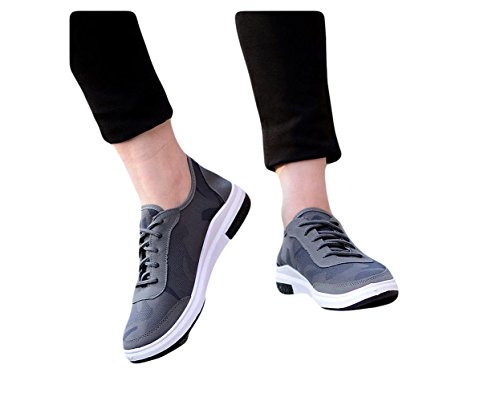 Ein Bißchen Herren Cool Segeltuch Schuhe Casual Mode Freizetschuhe Sneaker grau-A