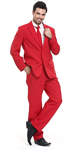 - U LOOK UGLY TODAY Men's Party Suit Solid Color Bachelor Party Suit Red for Adult-Medium