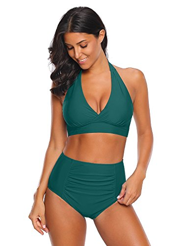 - luvamia Women's Teal Halter Self Tie Ruched High Waist Two Piece Bikini Set Swimsuits Bathing Suit Swimwear Size L