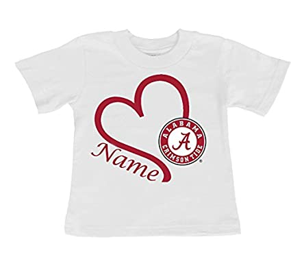 93287749769 Future Tailgater Alabama Crimson Tide Personalized Heart Baby/Toddler T- Shirt (2T)