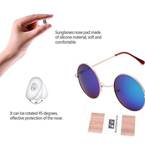 Femmes KINDOYO rond rétro Vert Lunettes miroir Goggles pour Or de qualité Steampunk soleil Punk UV400 Cyber hommes xqOSOrI