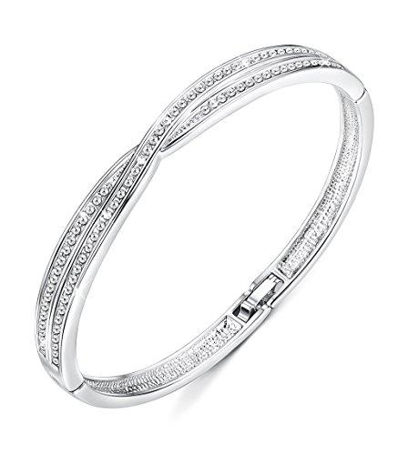 """دستبندهای النگوس زنان Sllaiss عاشق دستبندهای متقاطع عاشقانه 7 """"، کریستال های Swarovski ، [بسته بندی هدیه]"""