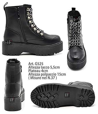 Senza marca//Generico 9255 Scarpe da Donna Stivali Stivaletti Biker Fibbie Anfibi Catene