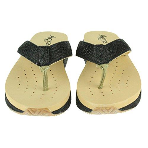 Mujer Señoras Trémulo Cada día Verano Casual Comfort Ponerse Tacón de cuña Sandalias Zapatos Tamaño Negro