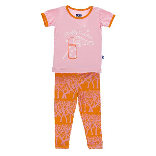 Kickee Pants Unisex-baby Print Short Sleeve Pajama Set In Sunset Fireflies, 12-18M