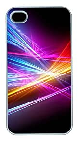 Rays Color Black Background PC case Cover for iPhone 4 and iPhone 4s ¡§C White