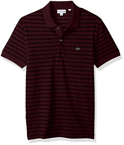 Adult Cotton Pique Polo (Lacoste Men's Short Sleeve Striped Pique Polo-Regular Fit, Vendange/Black, XX-Large)