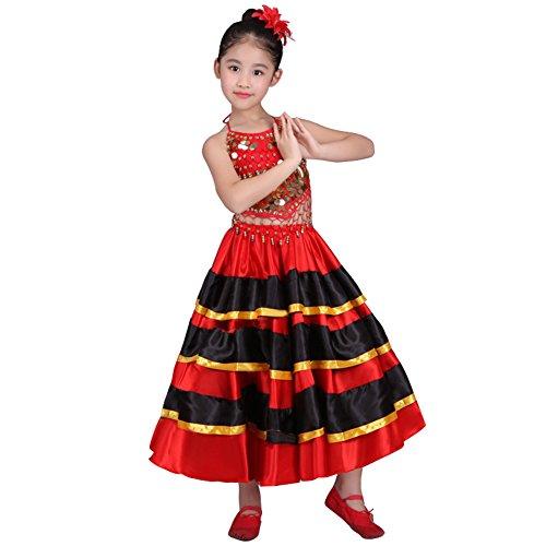 Dreamowl Girls Belly Dance Skirt 360 Degree Circle Costume Spanish Dances Bull Skirt (8-10 T, 180 Degree)