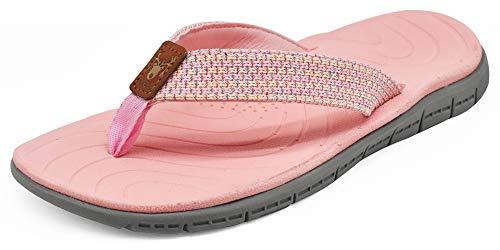 KUAILU Women's Non-Slip Casual Flip Flop Thong Sandals (9, Pink)