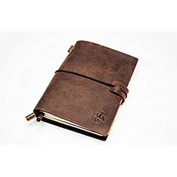 Wanderings Pocket Leather Notebook Journal - Refillable, Perfect for Writing, Gifts, Fountain Pen Users, Travelers, Professional, Diary. Classic Vintage Style
