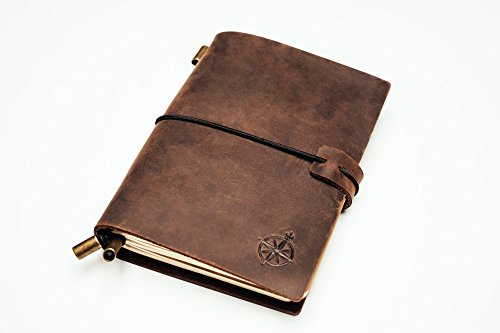 Pocket Leather Notebook Journal - Refillable Travel Journal | Perfect for Writing, Gift for Men or Women, Travelers, Professionals, Diary. Classic Vintage Style. 5.1 x 4
