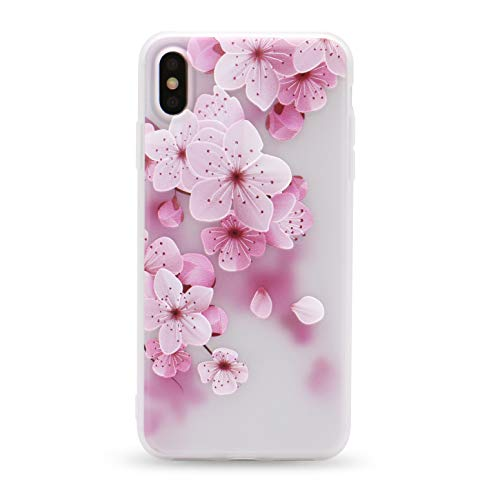 (IMIFUN 3D Relief Flower Silicon Phone Case for iPhone Xs Max XR XS Rose Floral iPhone Cases Soft Frosted TPU Cover (5619, for 7 Plus 8 Plus) )