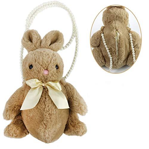 Athoinsu Cuddly Stuffed Bunny Clutch Bag Soft Rabbit Inclined Shoulder Bag Convenient Purse for Girls, Brown, 14''
