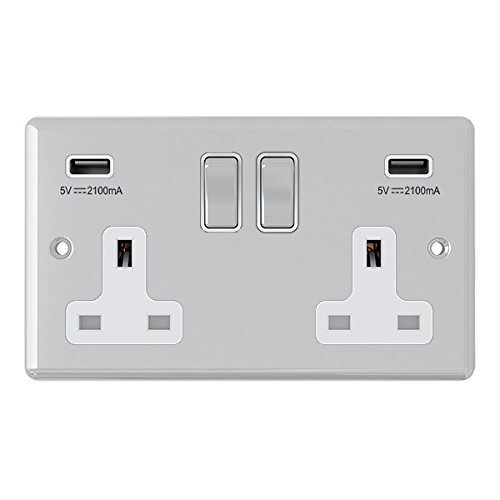 (AET CPC2GUSBWC 2 Gang 13 A Double Plug Classical Chrome Polished Socket with USB Charging Ports and White Insert Metal Rocker Switch by AET)