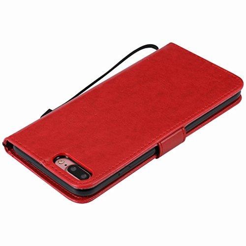 Custodia Apple IPhone 7 Plus Cover Case, Ougger Alberi Gatto Printing Portafoglio PU Pelle Magnetico Stand Morbido Silicone Flip Bumper Protettivo Gomma Shell Borsa Custodie con Slot per Schede (Rosso