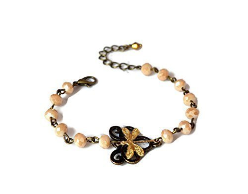 Dragonfly bracelet with beige crystals in bronze gold adjustable romantic for prom ()
