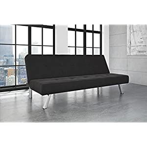 DHP Zany Futon Sofa Bed Sleeper, Durable Microfiber Upholstery and Sturdy Chrome Legs. Adjustable Backrest Converts From Couch to Bed