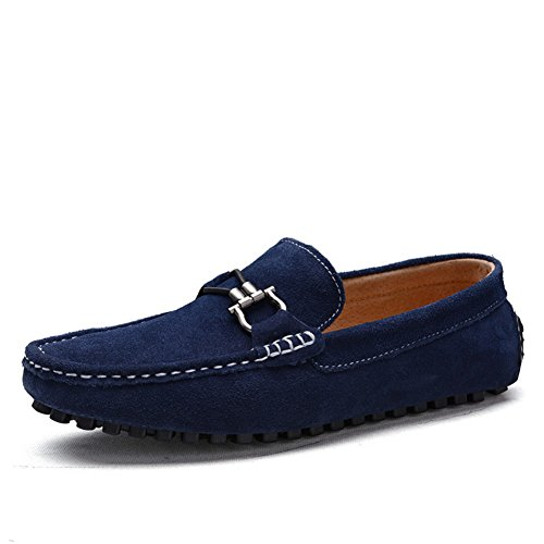 Tentoes Men Suede Leather Loafers Driving Shoes Blue 9 (Blue Suede Shoes Bar)