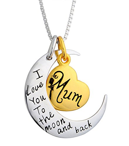 "2 Tone Silver-plated ""Mum, I Love You to the Moon and Back"" Heart Pendant Neckalce 18"" Box Chain-Adisaer"