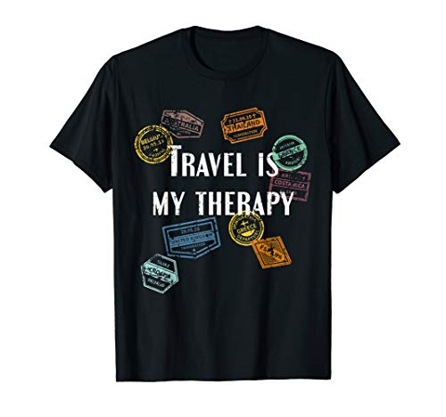 Travel Is my Therapy Distressed World Traveler Passport T-Shirt