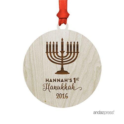 Andaz Press Personalized Laser Engraved Wood Hanukkah Orn...