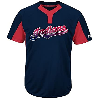 32b1136f0 Majestic Blank Back Adult 2XL Cleveland Indians 2-Button Placket Cool-Base  MLB Licensed