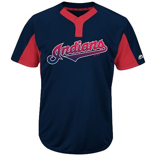 Majestic Blank Back Adult 2XL Cleveland Indians 2-Button Placket Cool-Base MLB Licensed Jersey