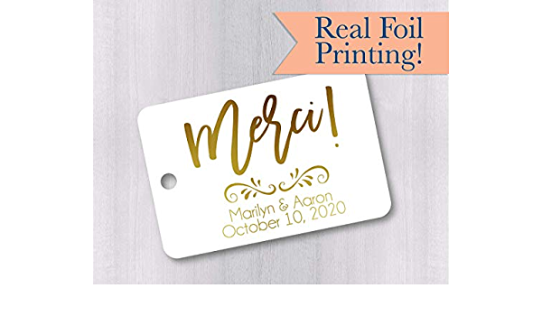 Thank You For Coming Tags Gold Foiled Wedding Favor Tags RR-026-F Rustic Small Wedding Favor Tags