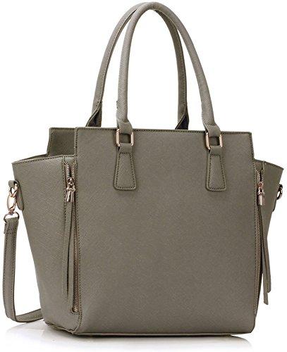 LeahWard Women's Zipper Handbags Nice Great Tote Shoulder Bags 314 314A 502 Grey
