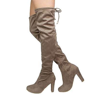Amazon.com | Women's Over Knee High Block Chunky Heel Thigh Heel ...