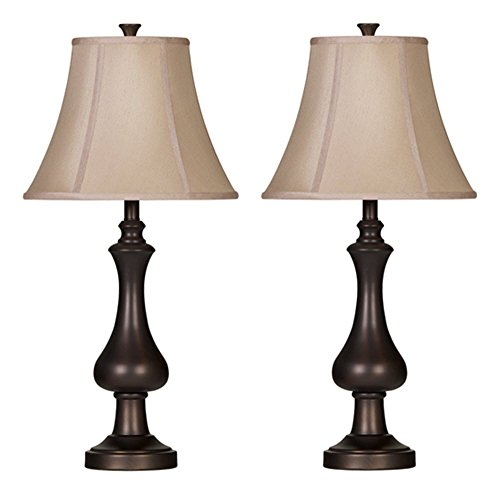 Light One Champagne Lamp Table (Ashley Furniture Signature Design - Nidra Metal Table Lamps - Set of 2 - Champagne Bell Shades - Matte Brown Finish)