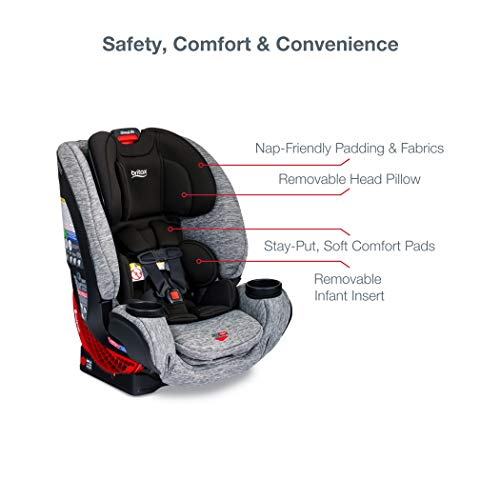 41cpQsTlgaL - Britax One4Life ClickTight All-In-One Car Seat – 10 Years Of Use – Infant, Convertible, Booster – 5 To 120 Pounds, Spark Premium Soft Knit Fabric [Amazon Exclusive]