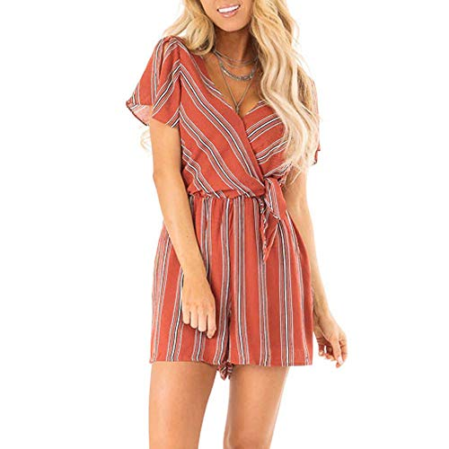 Women's Fashion Summer Jumpsuits Jebess Casual O Neck Loose Pants Floral Printed Knot Strap Short Rompers Red
