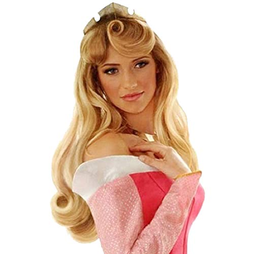 Sleeping Beauty Cosplay Wig Aurora Princess Elora Long Curly Wavy Hair Wigs Halloween Fancy Dress Brown Anime Wig Costume Wig For Adult Women Party New Fashion Synthetic Hairpiece