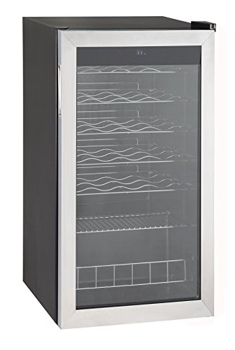 SMAD 35 Bottles Compressor Wine Cooler/Chiller Under Counter, Stainless (Electric Stainless Steel Refrigerator)