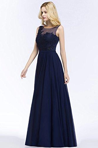 Abendkleid Lang Linie A Spitzenkleider Brautjungfernkleid Tüll Dunkelblau Babyonlinedress Damen Elegant Ballkleid Chiffon t0wyRvq